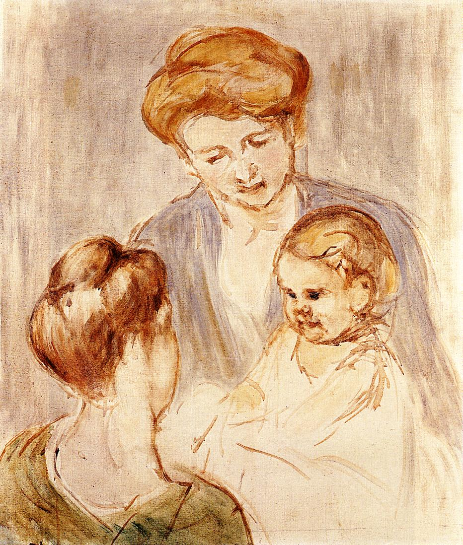 A Baby Smiling at Two Young Women - Mary Cassatt Painting on Canvas