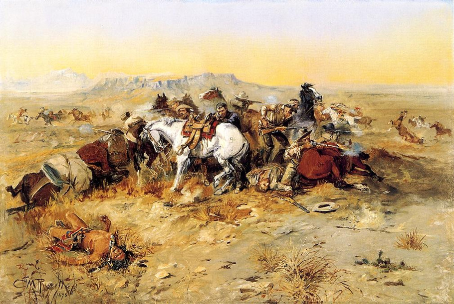 A Desperate Stand - Charles Marion Russell Paintings
