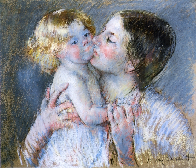 A Kiss for Baby Anne (no. 3) - Mary Cassatt Painting on Canvas