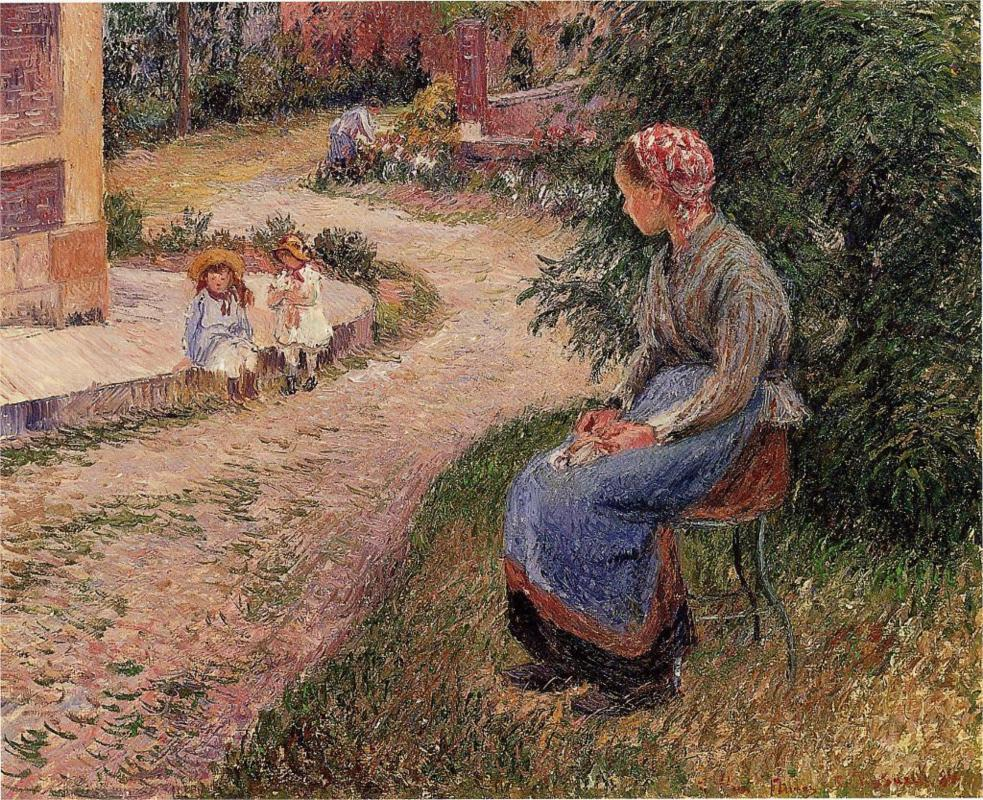 A Servant Seated in the Garden at Eragny - Camille Pissarro Paintings