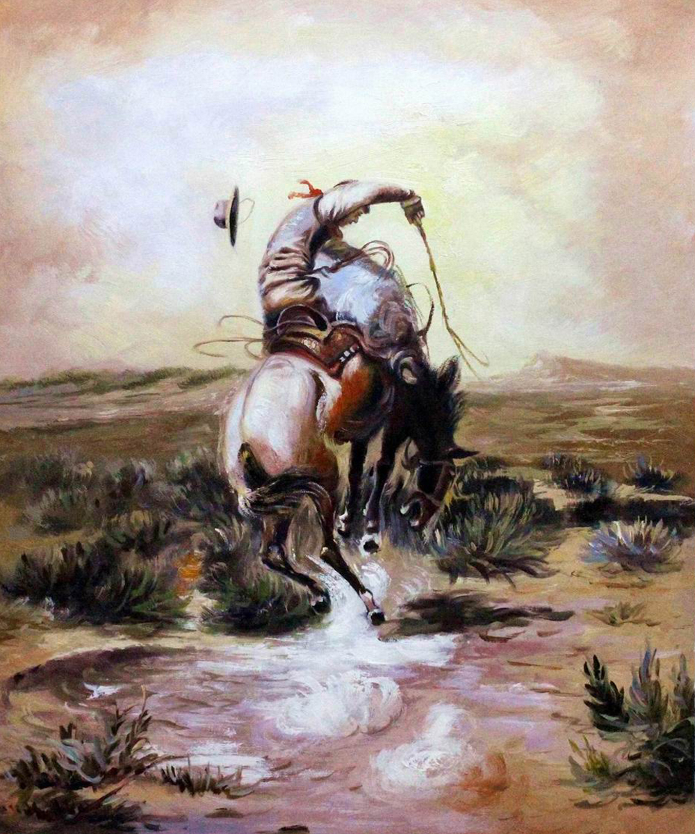 A Slick Rider - Charles Marion Russell Paintings