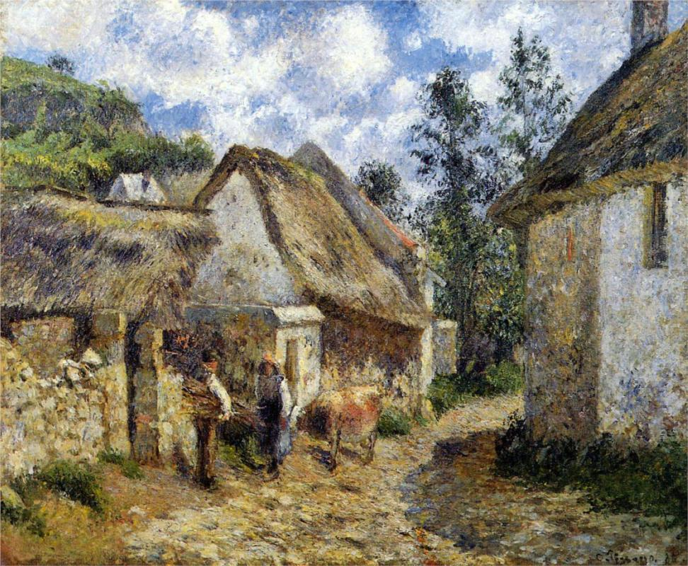 A Street in Auvers -Thatched Cottage and Cow - Camille Pissarro Paintings