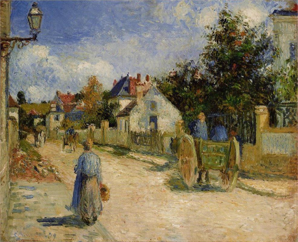 A Street in Pontoise - Camille Pissarro Paintings
