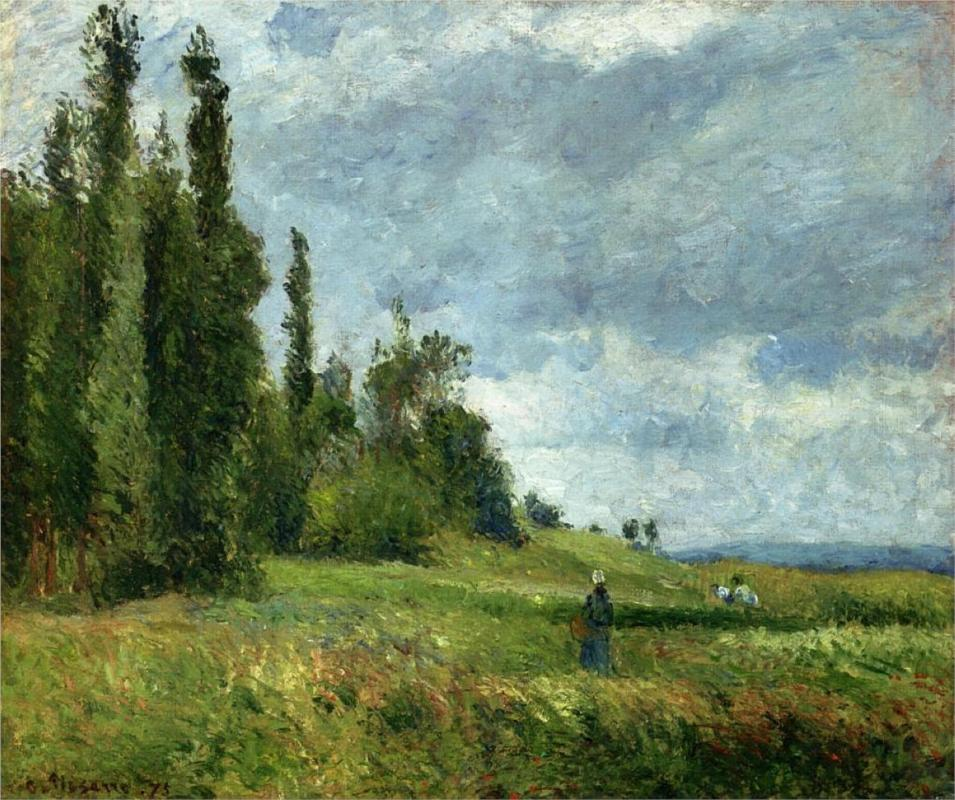 A part of Groettes, Pontoise, Gray Weather - Camille Pissarro Paintings