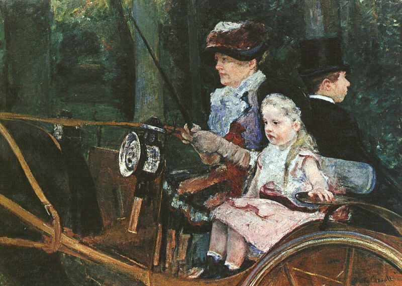 A woman and child in the driving seat - Mary Cassatt Painting on Canvas