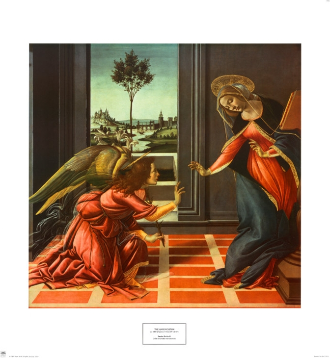 Annunciation - Sandro Botticelli painting on canvas