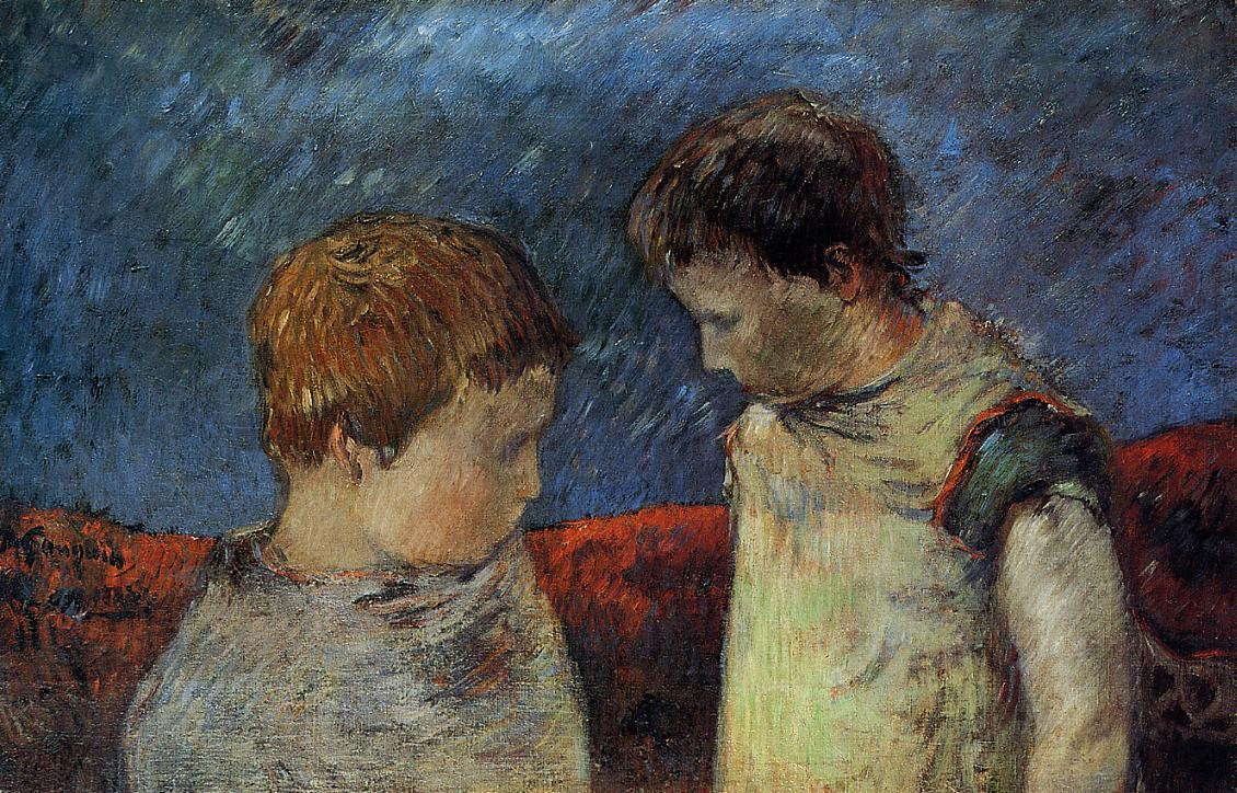 Aline Gauguin and One of Her Brothers - Paul Gauguin Painting