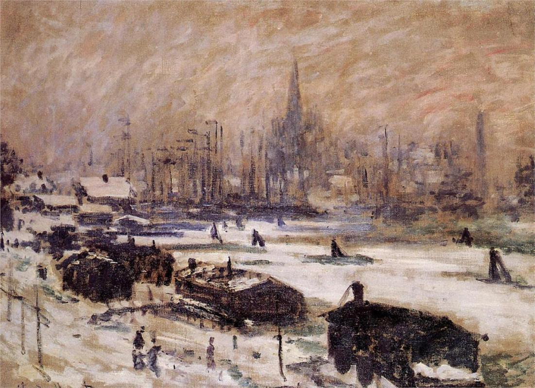 Amsterdam in the Snow 1874 - Claude Monet Paintings