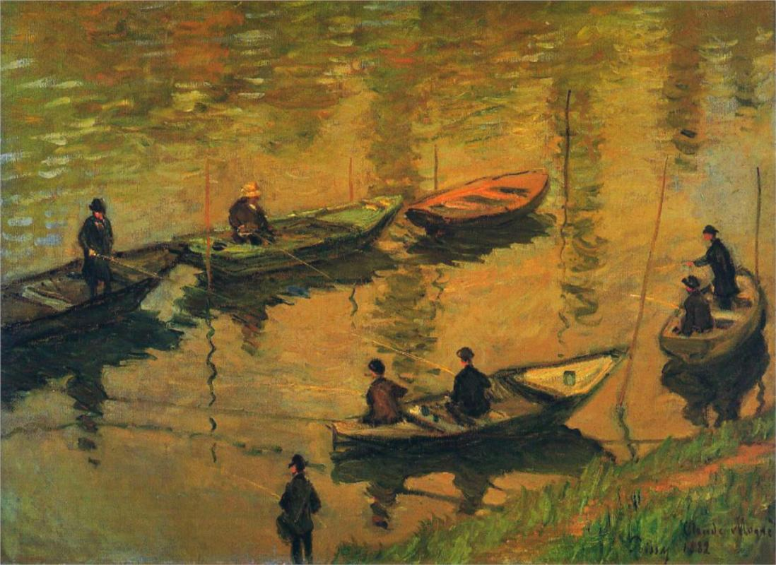 Anglers on the Seine at Poissy 1882 - Claude Monet Paintings