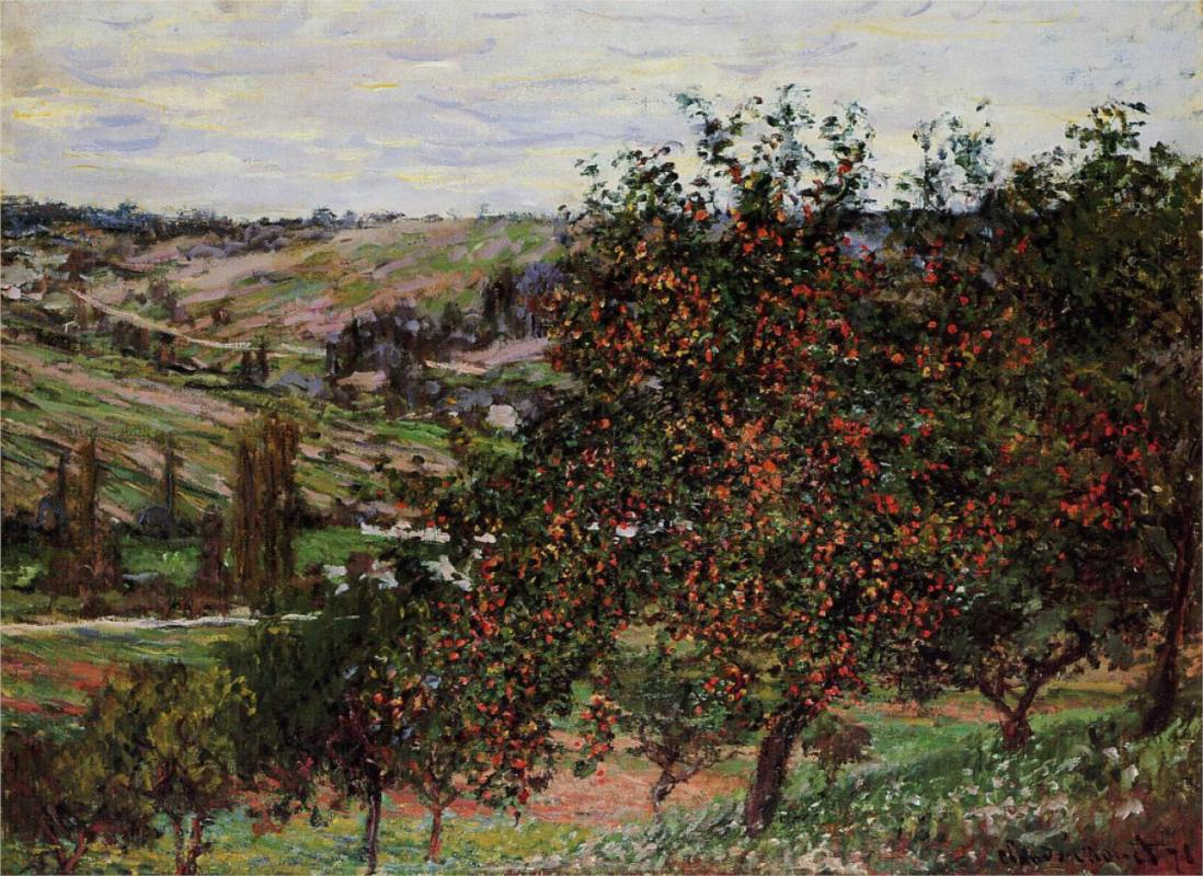 Apple Trees near Vetheuil - Claude Monet Paintings