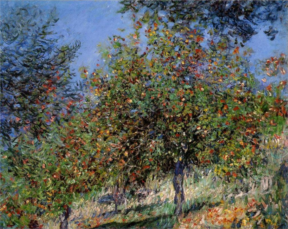 Apple Trees on the Chantemesle Hill - Claude Monet Paintings