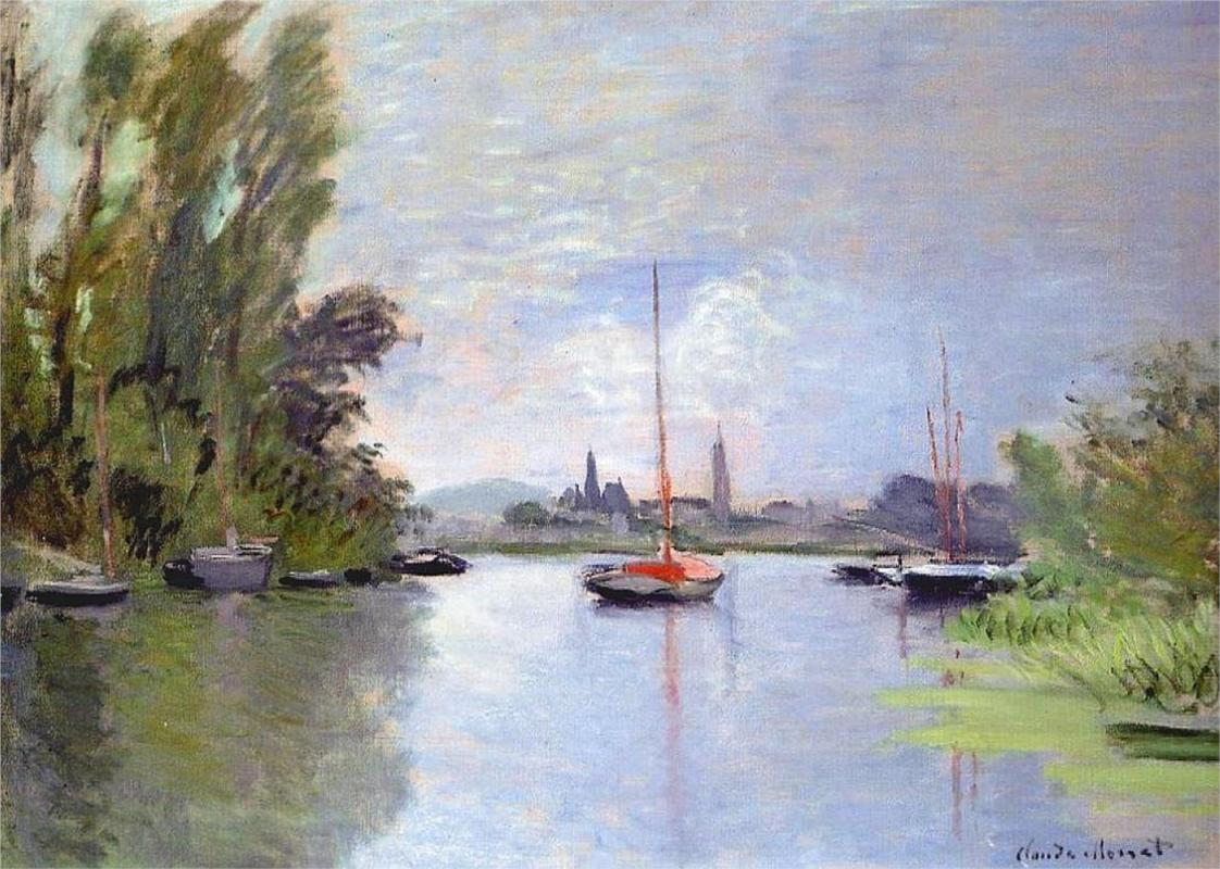 Argenteuil Seen from the Small Arm of the Seine - Claude Monet Paintings