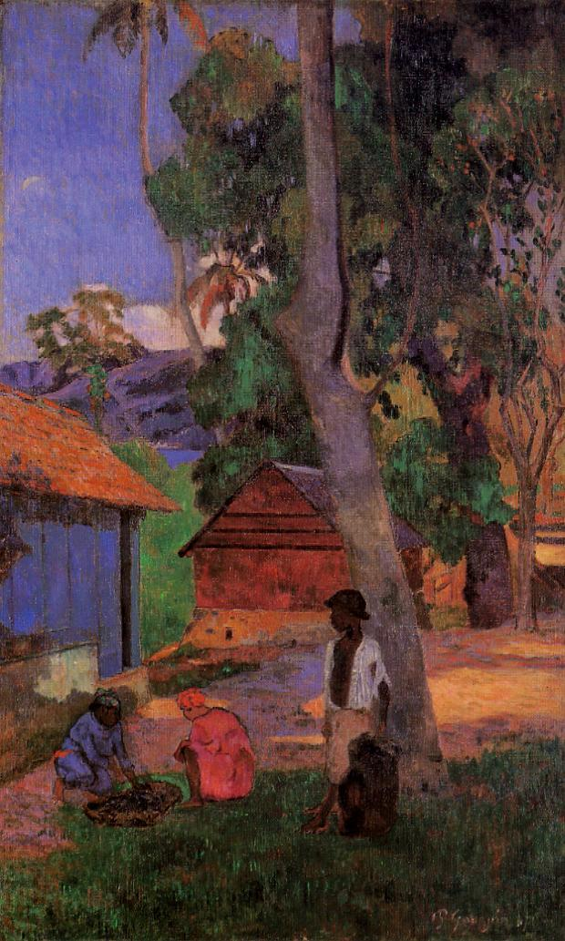 Around the Huts - Paul Gauguin Painting