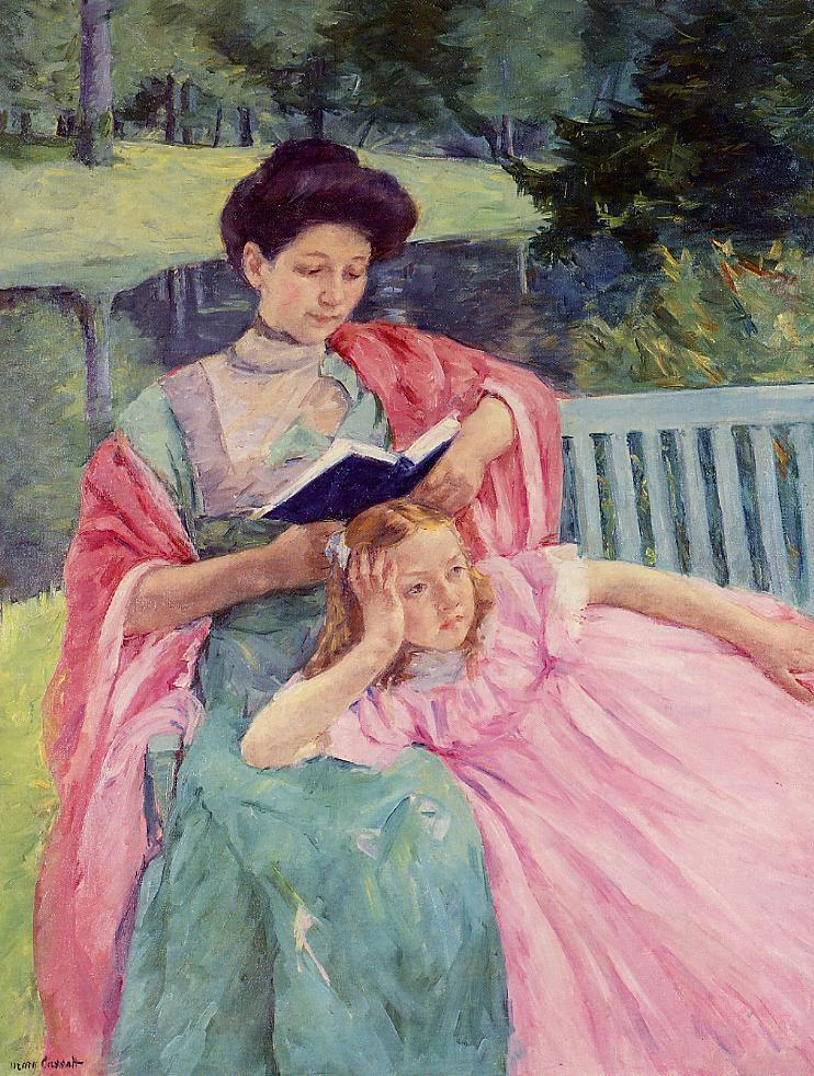 Auguste Reading to Her Daughter - Mary Cassatt Painting on Canvas