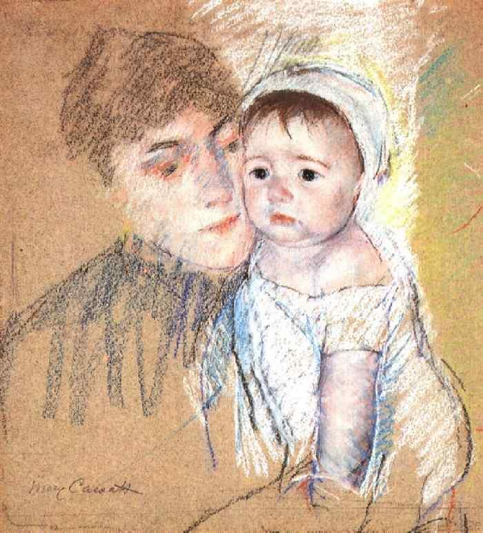Baby Bill in Cap and Shift - Mary Cassatt Painting on Canvas