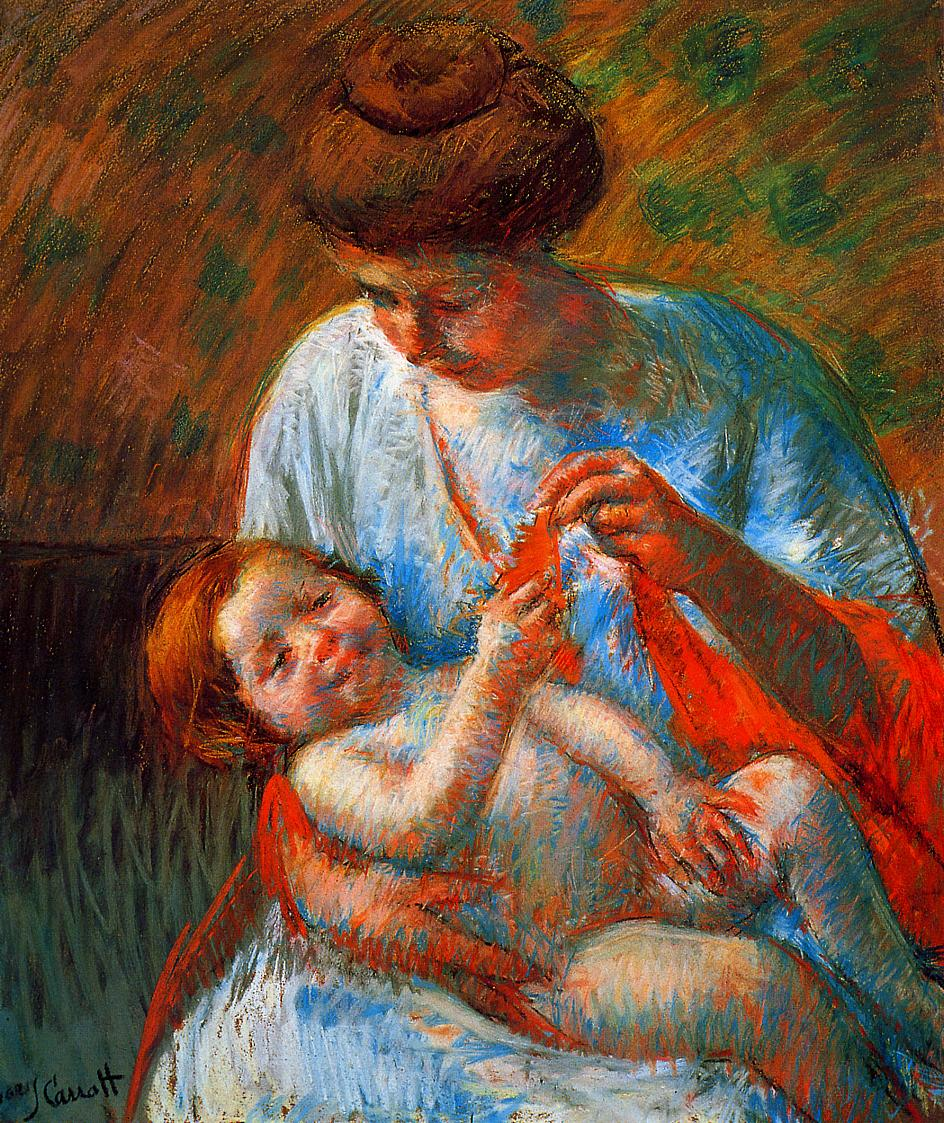 Baby Lying on His Mother s Lap, reaching to hold a scarf - Mary Cassatt Painting on Canvas