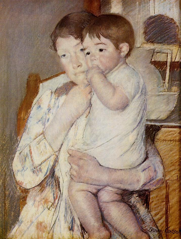 Baby in His Mothers arms, sucking his finger - Mary Cassatt Painting on Canvas