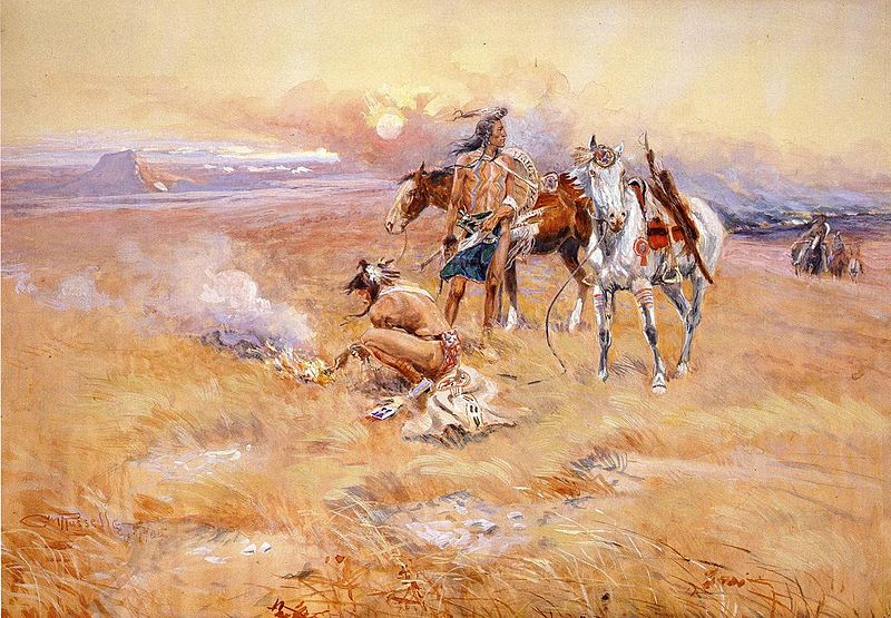Blackfeet Burning Crow Buffalo Range - Charles Marion Russell Paintings