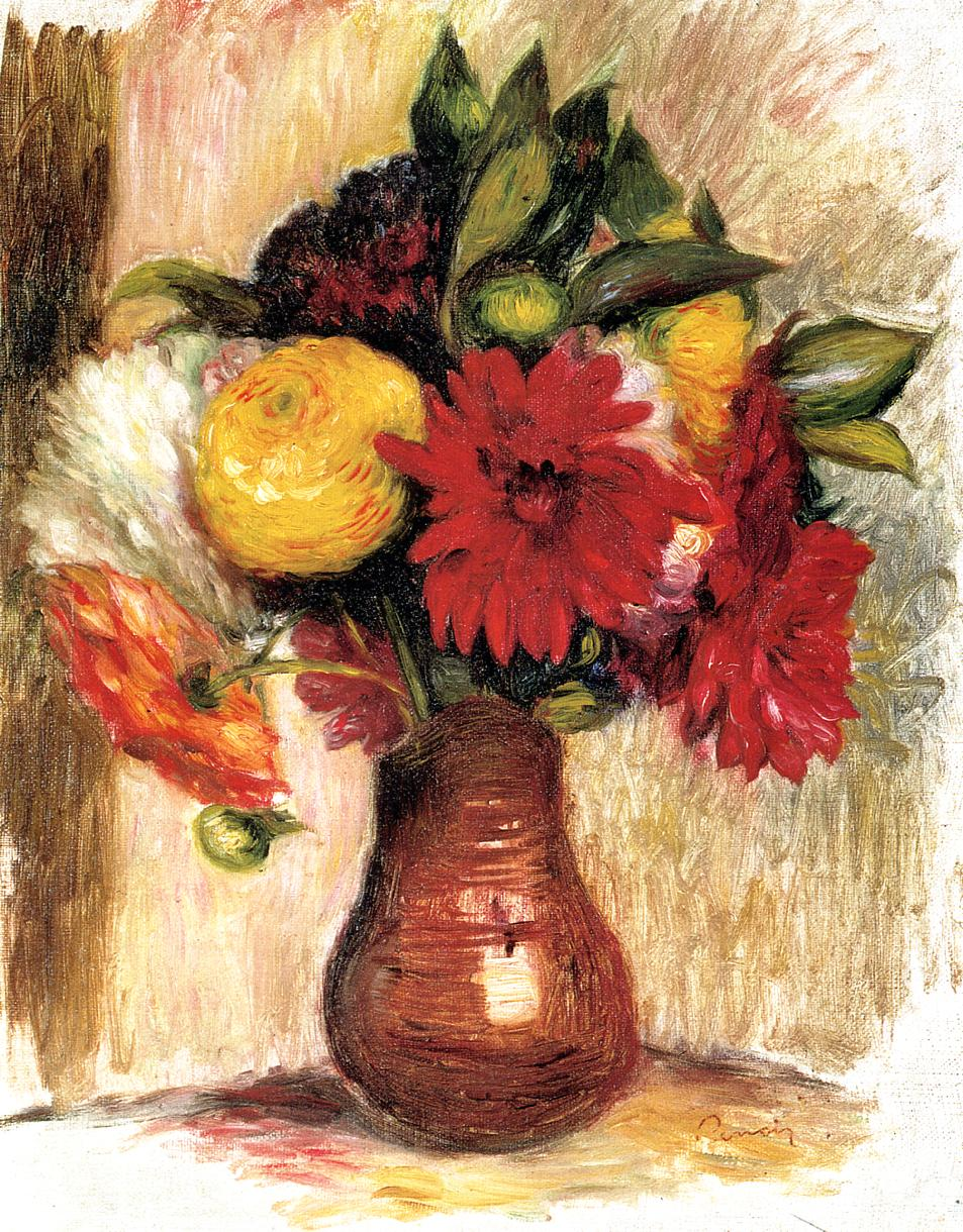 Bouquet of Flowers in an Earthenware Pitcher - Pierre-Auguste Renoir painting on canvas