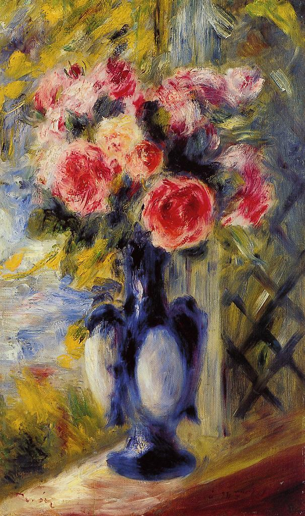 Bouquet of Roses in a Blue Vase - Pierre-Auguste Renoir painting on canvas