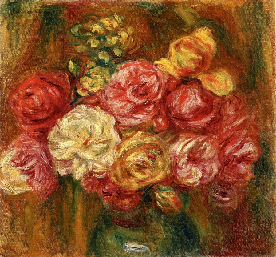 Bouquet of Roses in a Green Vase - Pierre-Auguste Renoir painting on canvas