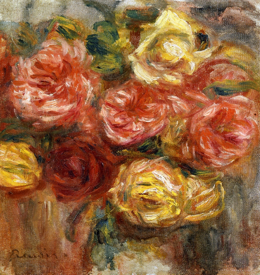 Bouquet of Roses in a Vase - Pierre-Auguste Renoir painting on canvas