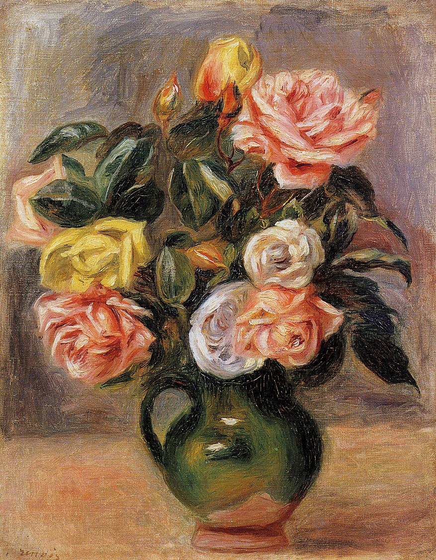 Bouquet of Roses - Pierre-Auguste Renoir painting on canvas