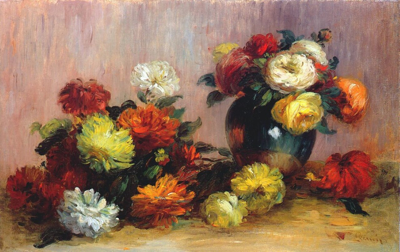 Bouquets of Flowers - Pierre-Auguste Renoir painting on canvas