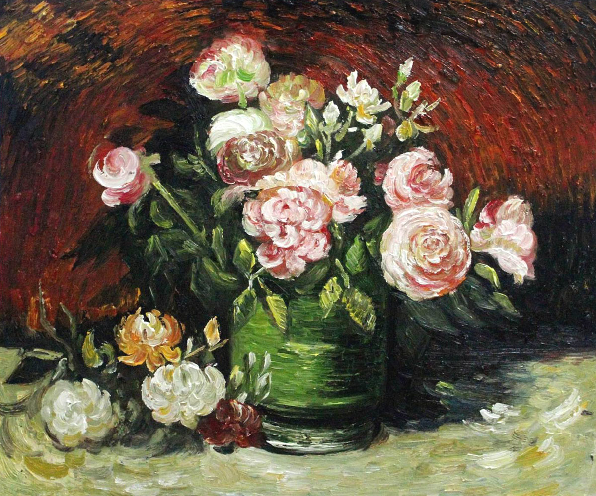 Bowl with Peonies and Roses - Van Gogh Painting On Canvas