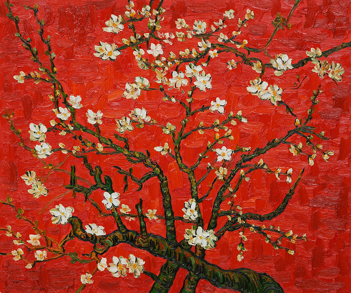 Branches Of An Almond Tree In Blossom Interpretation in Red - Van Gogh Painting On Canvas