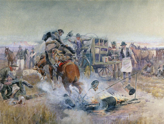 Bronc Breakfast - Charles Marion Russell Paintings