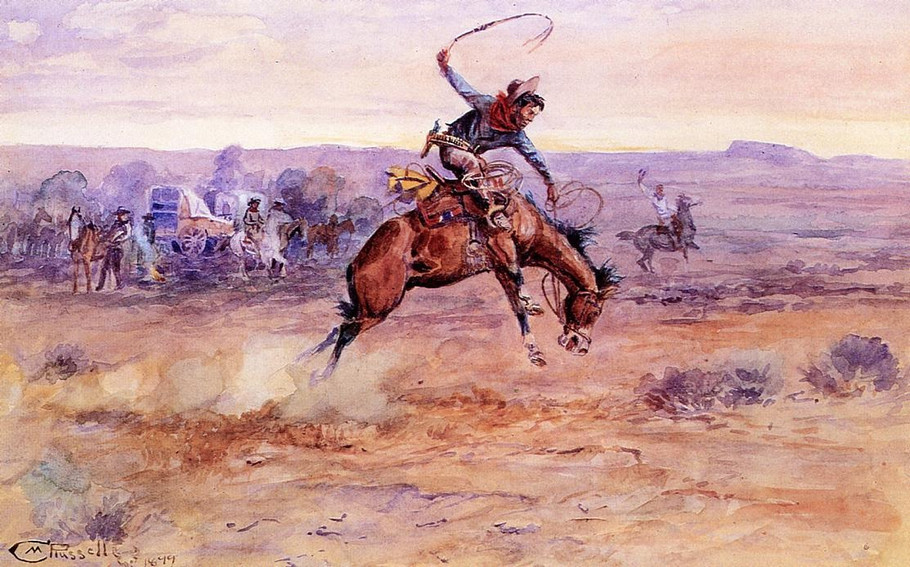 Bucking Bronco - Charles Marion Russell Paintings