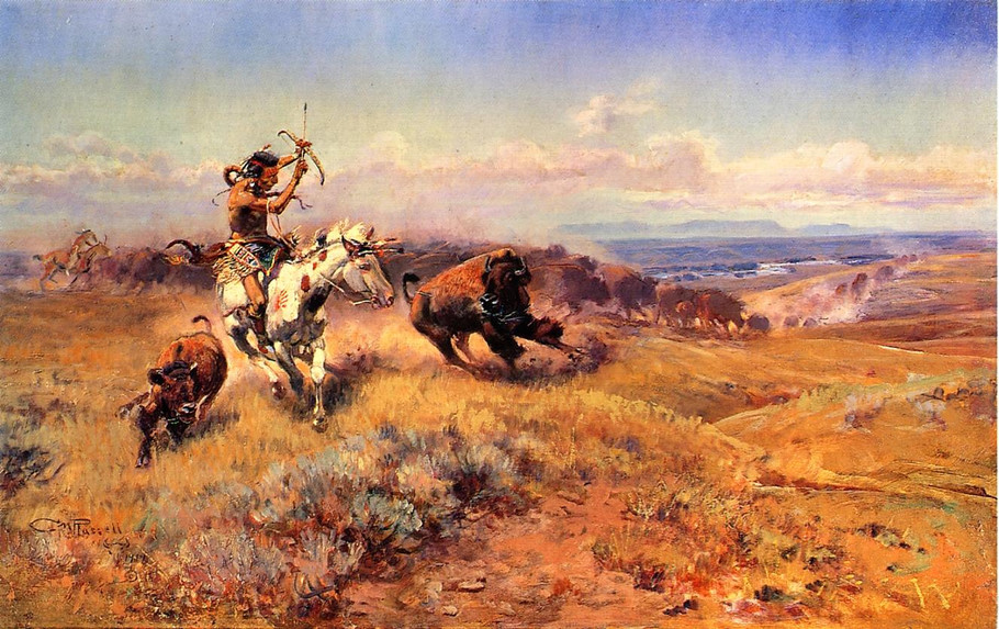 Buffalo Hunt No.40 - Charles Marion Russell Paintings