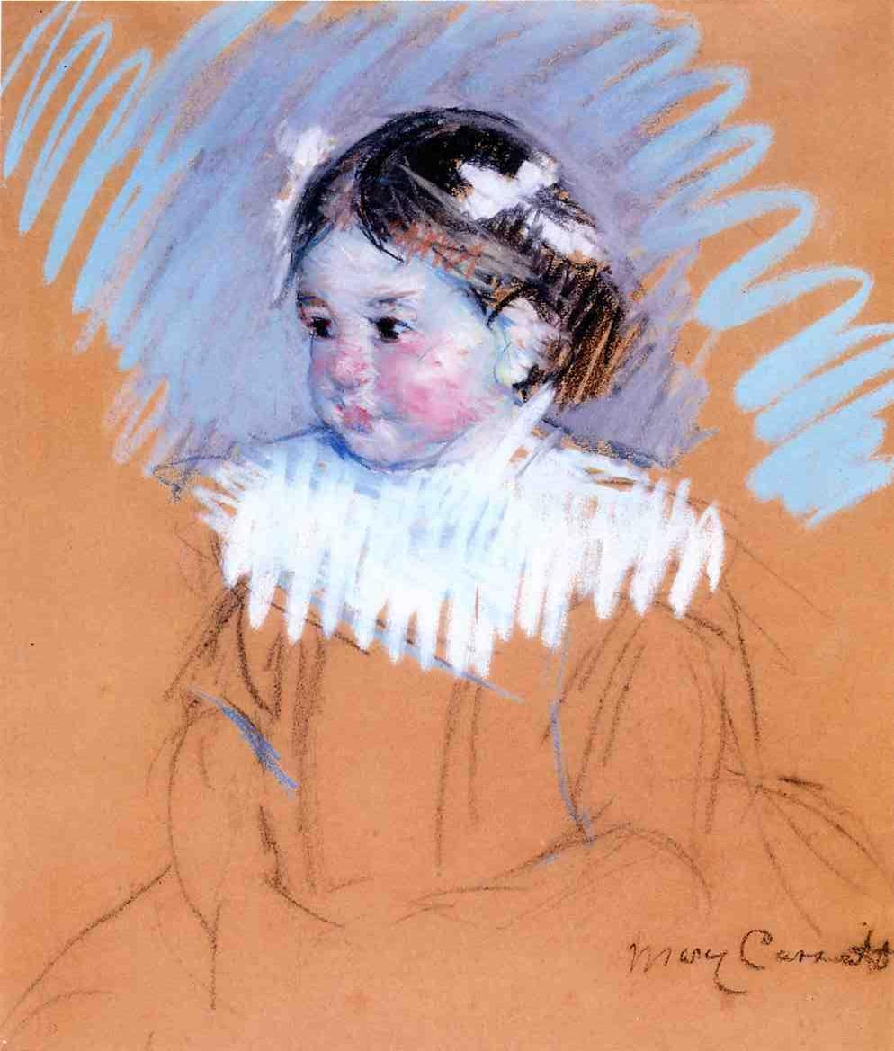 Bust of Ellen with Bows in Her Hair - Mary Cassatt Painting on Canvas