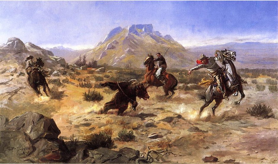 Capturing the Grizzly - Charles Marion Russell Paintings