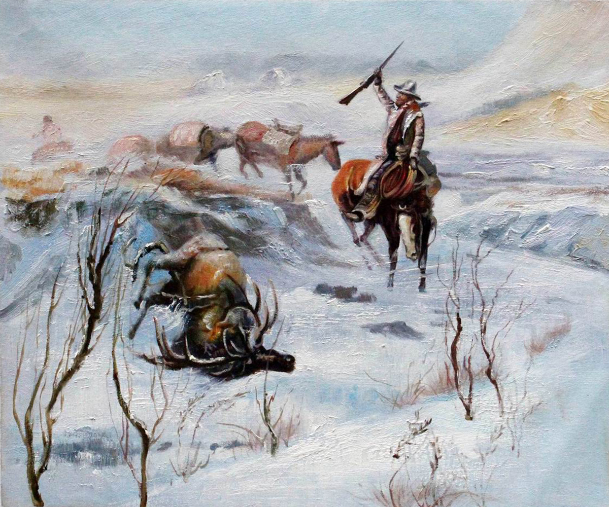 Christmas Dinner for the Men on the Trail - Charles Marion Russell Paintings