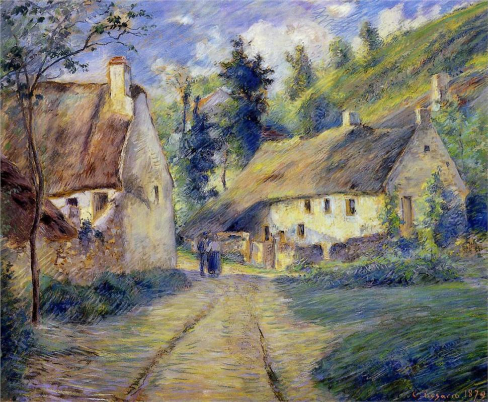 Cottages at Auvers, near Pontoise - Camille Pissarro Paintings