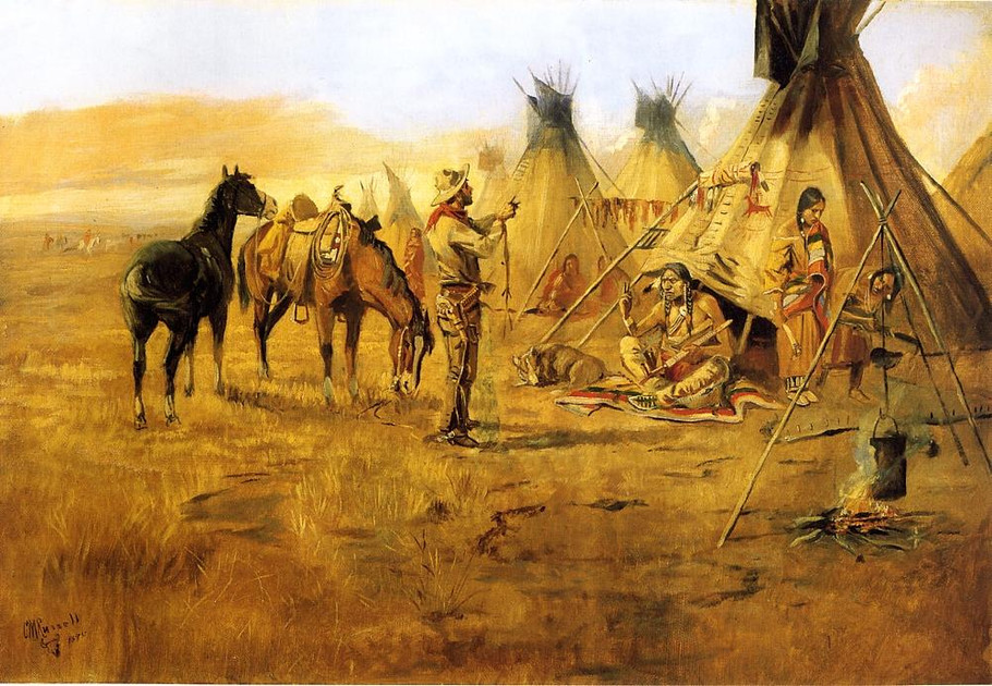 Cowboy Bargaining for an Indian Girl - Charles Marion Russell Paintings