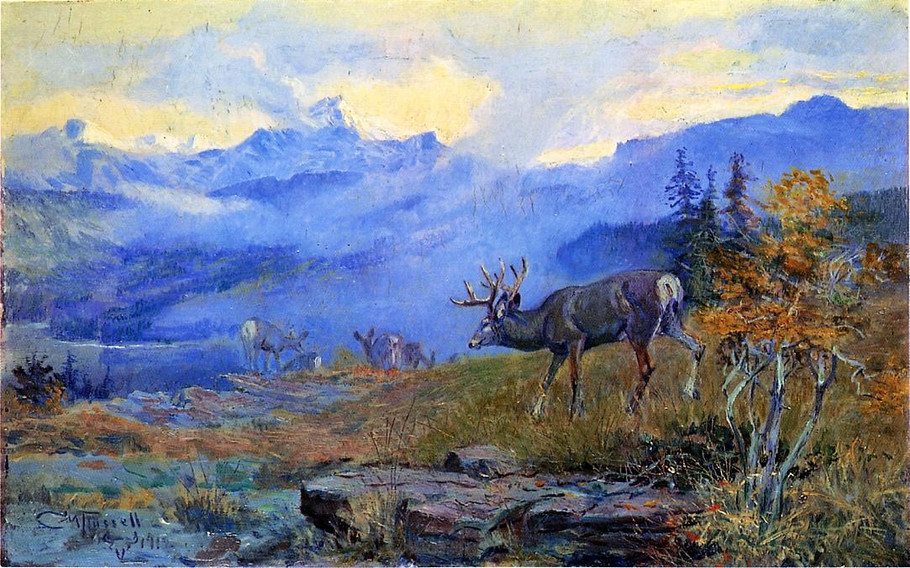 Deer Grazing - Charles Marion Russell Paintings