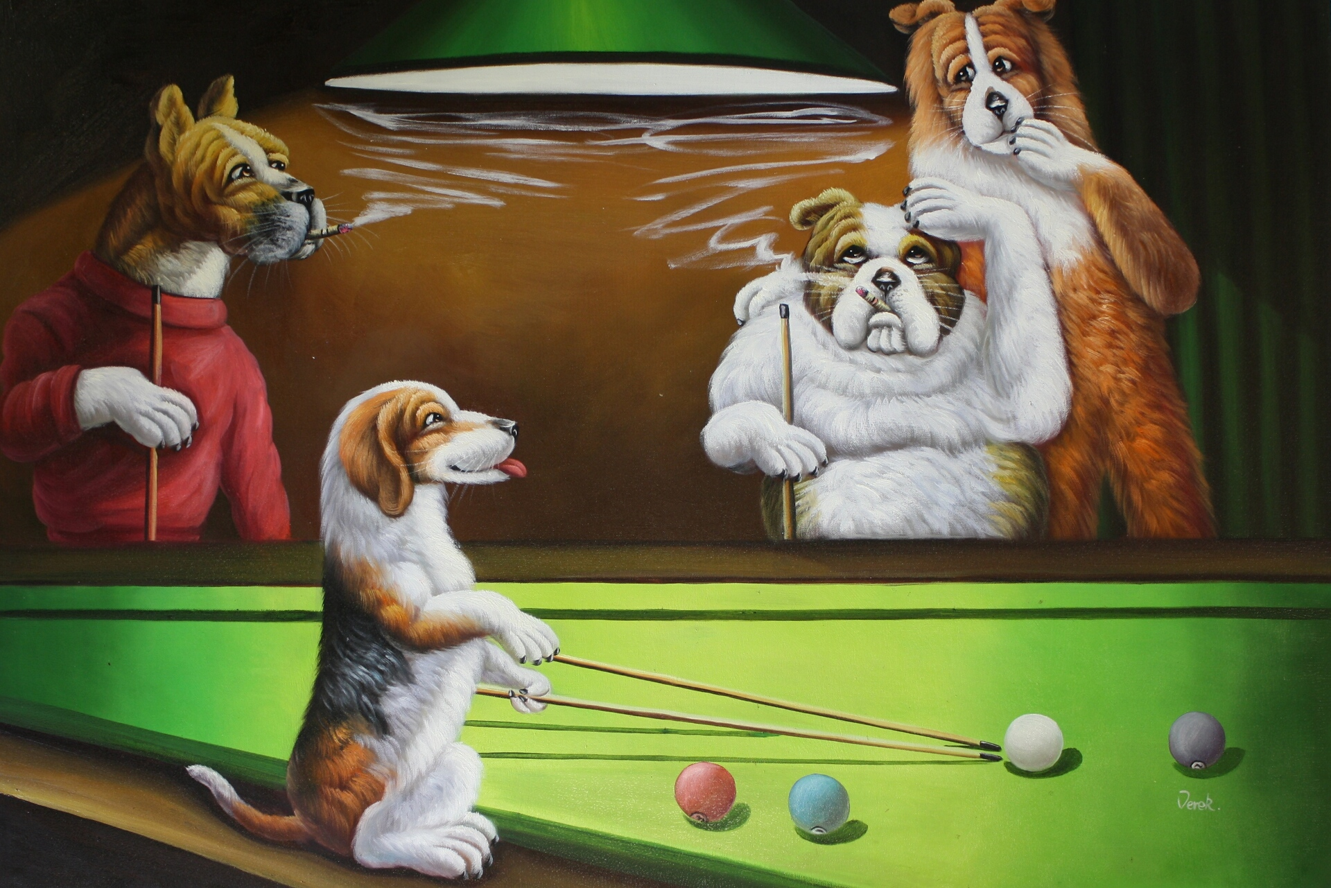 Dogs Playing Pool - Cassius Marcellus Coolidge Paintings