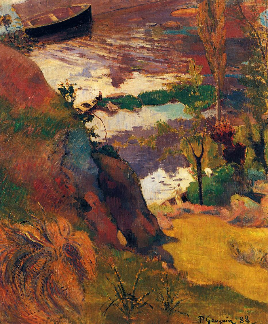 Fishermen and Bathers on the Aven - Paul Gauguin Painting