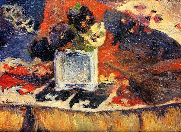 Flowers and Carpet - Paul Gauguin Painting