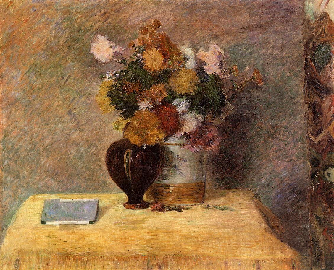 Flowers and Japanese Book - Paul Gauguin Painting