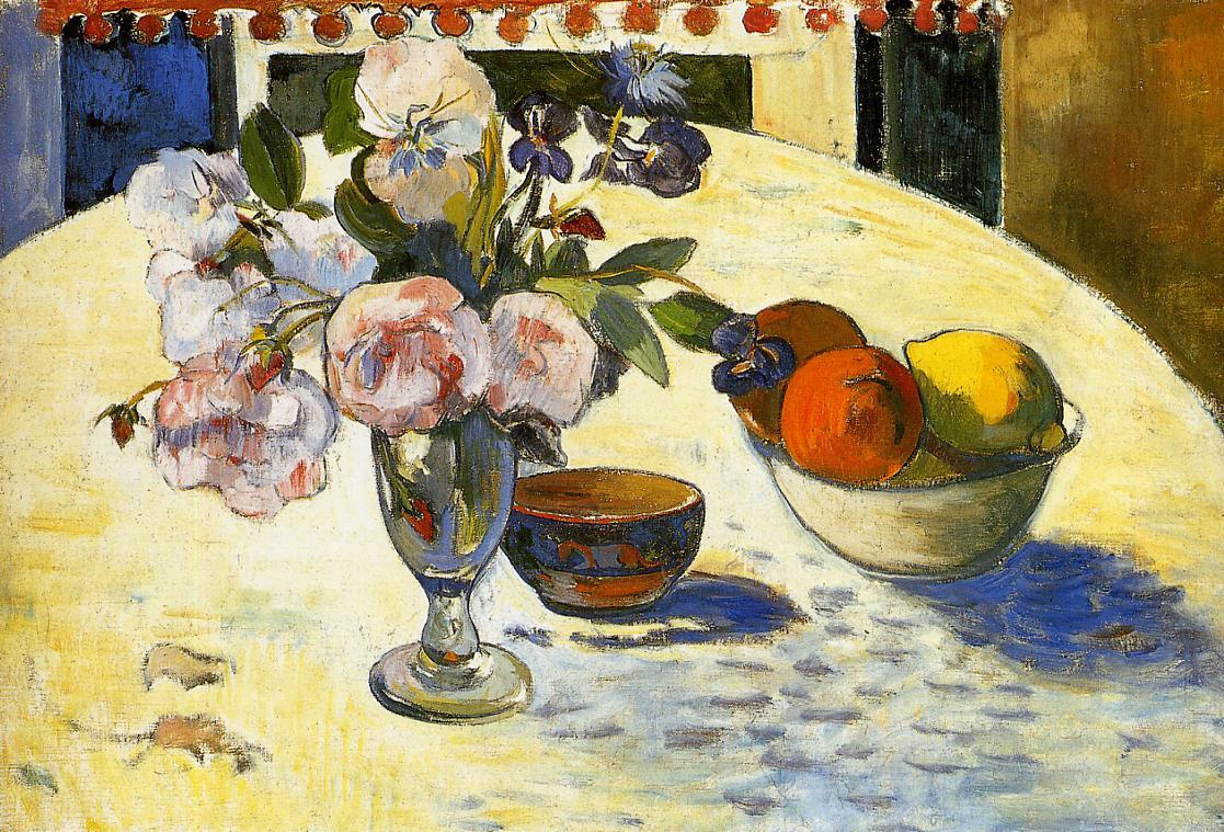 Flowers in a Fruit Bowl - Paul Gauguin Painting