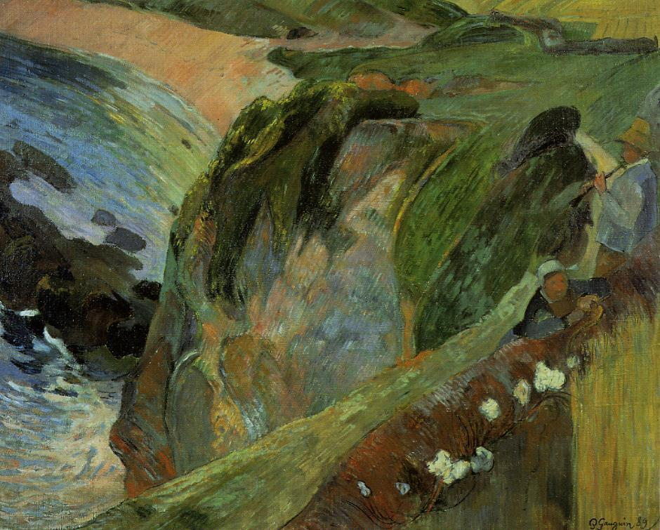 Flutist on the Cliffs - Paul Gauguin Painting