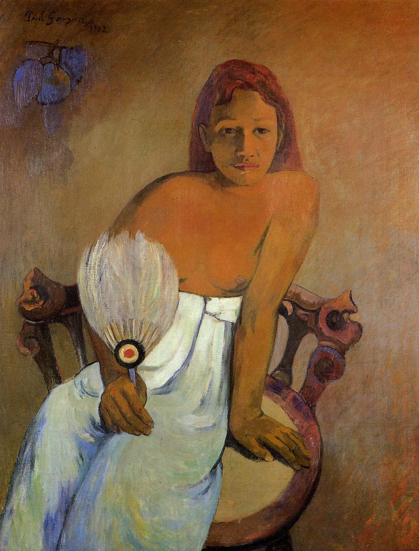 Girl with a Fan - Paul Gauguin Painting