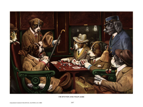 His Station and Four Aces - Cassius Marcellus Coolidge Paintings