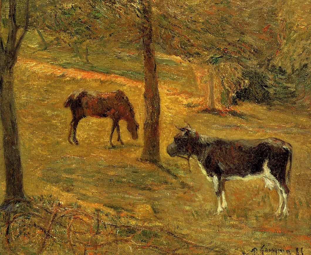 Horse and Cow in a Field - Paul Gauguin Painting
