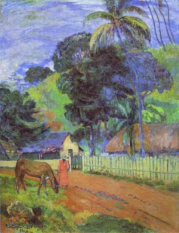 Horse on Road, Tahitian Landscape - Paul Gauguin Painting