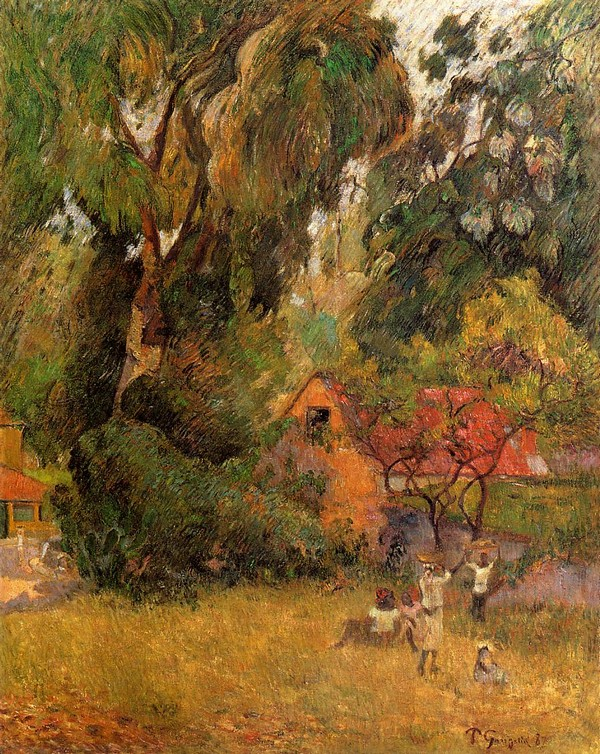 Huts under the Trees - Paul Gauguin Painting